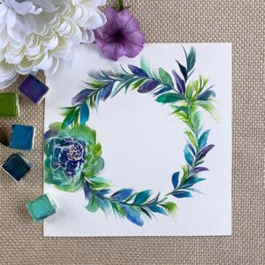 This color. This wreath. Oh how the brushstrokes really bring out the feather look and feel.
