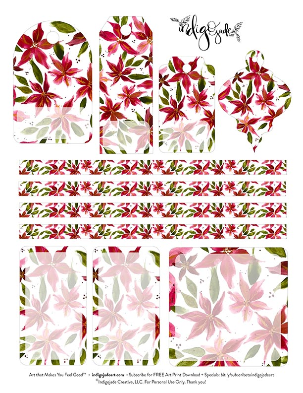 Poinsettia Tags Printable