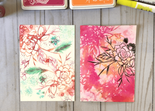 Watercolor Stamping on YUPO