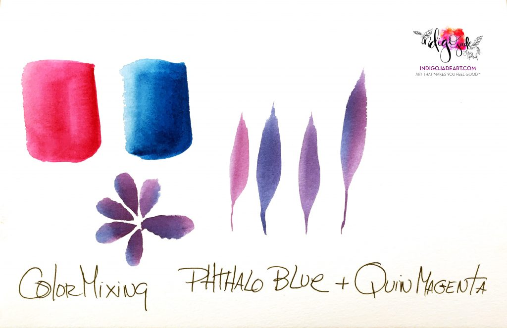 Qor Watercolor Phthalo Blue and Quinacridone Magenta