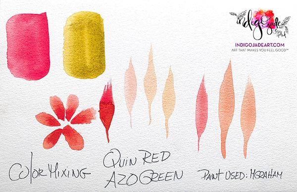 This is a color mixing swatch of MGraham's Quinacridone Red and Azo Green