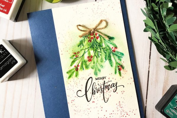Creating a Christmas Card Design with Distress Inks and Gina K Designs Stamps by Lisa Hetrick
