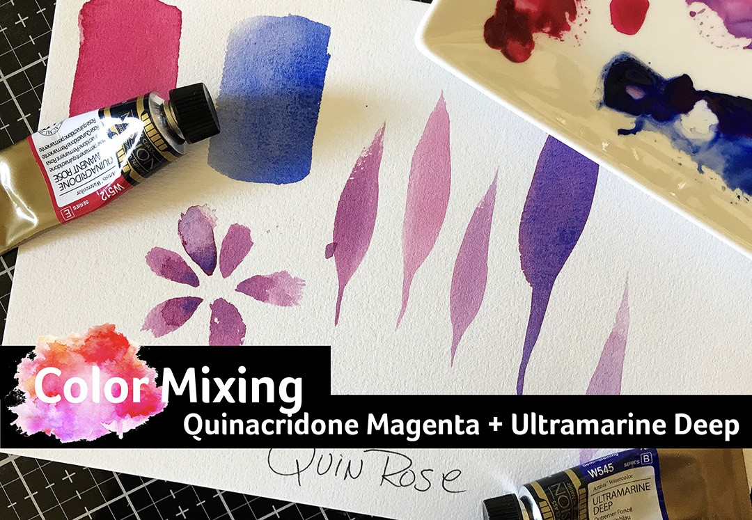 Mission Gold Watercolor: Quinacridone Magenta and Ultramarine Deep