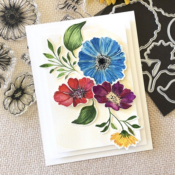 Card made using Gina K Designs Vibrant blooms stamp set and gouache paint