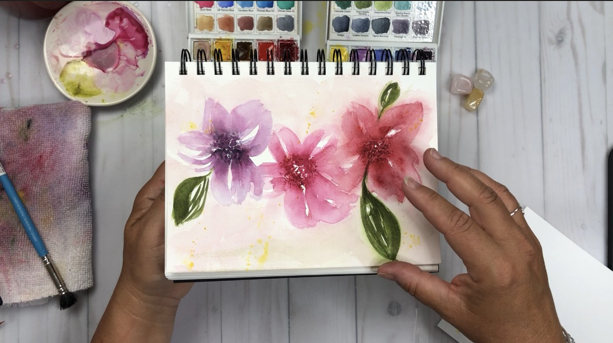 Watercolor florals in a Bee Paper Company Watercolor Journal