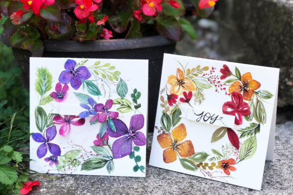 Watercolor Wreath Cards