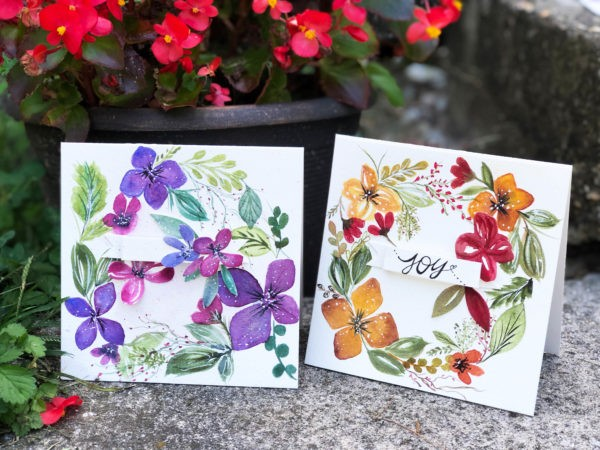 Watercolor Wreath Cards
