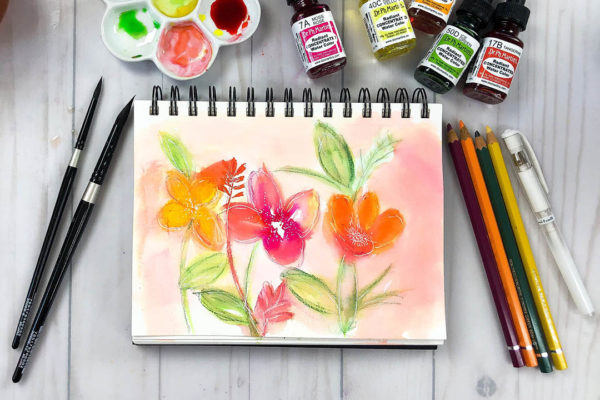 Painting Watercolor Florals in a Bee Paper Company Watercolor Sketchbook