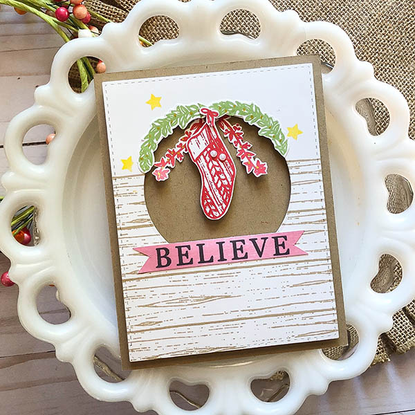 Believe card with a Christmas stocking