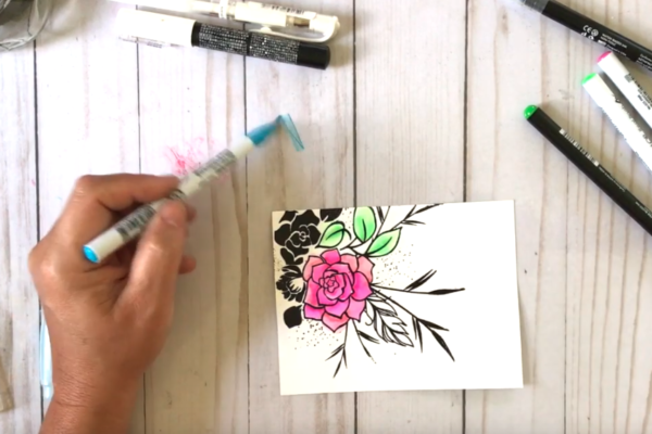 Creating watercolor effects with water-based markers