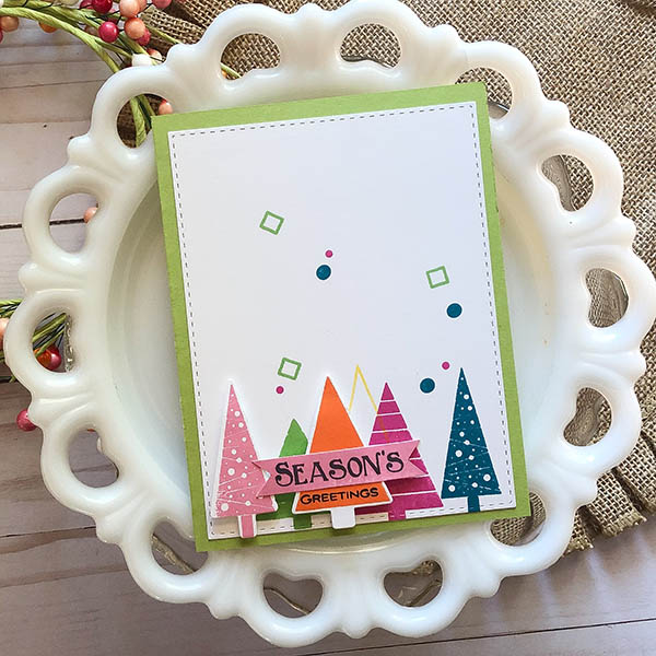 Seasons Greetings card using Holiday Trees Stamp Set