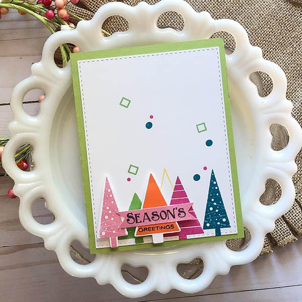 Seasons Greetings card using Holiday Trees Stamp Set