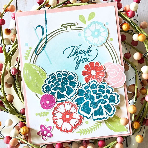 Embroidered Flowers Card