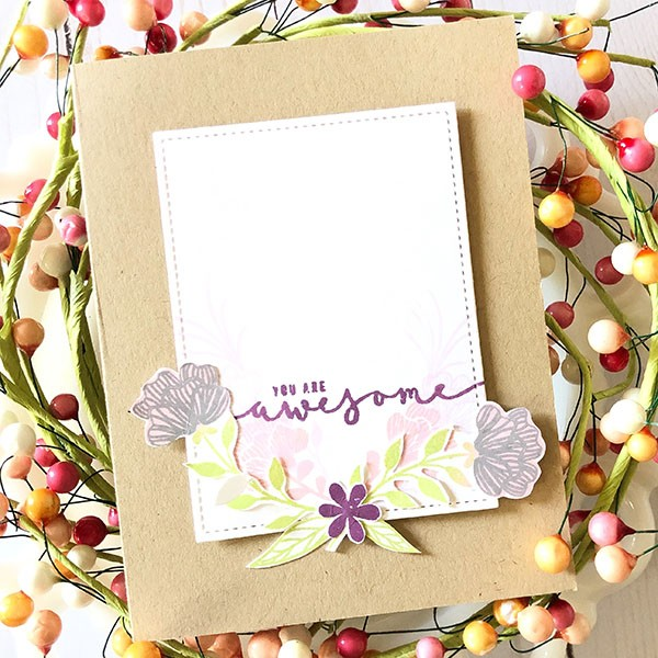 A fun card featuring a laurel wreath by Lisa Hetrick