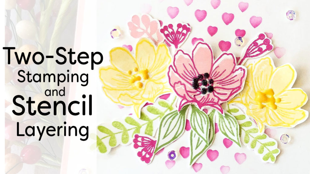 Sample of two step stamping and stencil layering