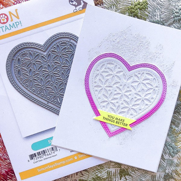 An image using the Simon Says Stamp heart Die