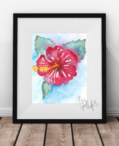 Ruby Red Hibiscus Art Print