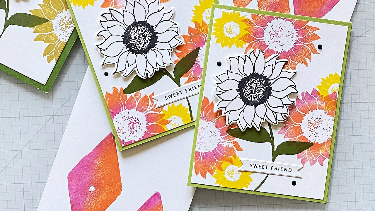 Sunflower card with beautiful ink