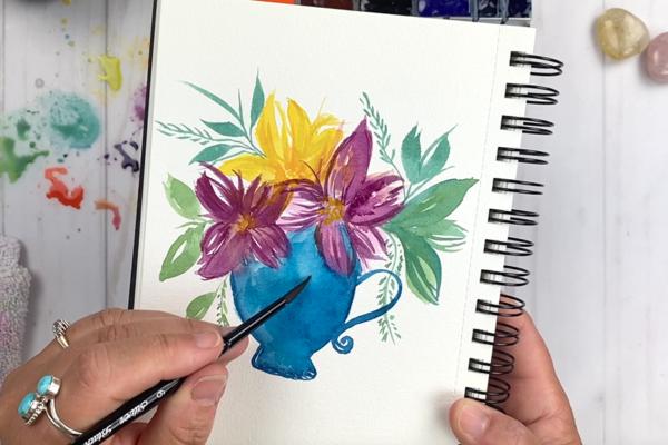 Tea Cup floral watercolor